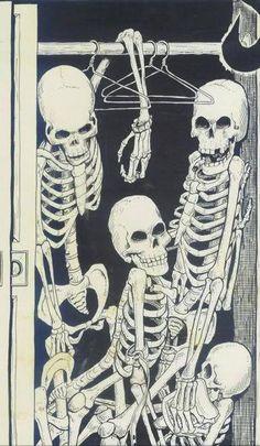 skeletons in the wardrobe / esqueletos no armário Pop Art Vintage, Vintage Witch, Vintage Grunge, Sketch Manga, Tachisme, Skeleton Art, Funny Skeleton, Skeleton Makeup, Skeleton Bones