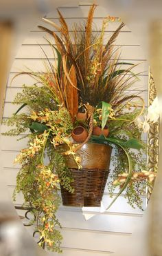 Complete your decoration with one Wall Sconces Silk Flowers arrangement you'll be able to enjoy for years to come! Artificial Floral Arrangements, Fall Flower Arrangements, Silk Floral Arrangements, Artificial Flowers, Fall Flowers, Dried Flowers, Funeral Flowers, Arte Floral, Flower Wall