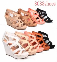 Women's Strappy Open Toe Low High Wedge Sandal Shoes 4 Colors Size 5.5 - 10 NEW #TopModa #PlatformsWedges