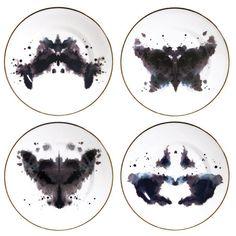 "Ink Blot Plates ""Horse"", ""Butterfly"", ""Rabbit"", ""Fox"" by welovekaoru from Luna & Curious"