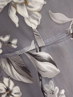 Gray 3/4 Sleeve Printed A-line Floral Plus Size Elegant Dress