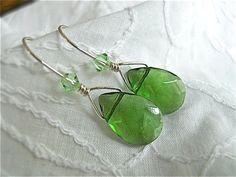 Swarovski Crystal Earrings Emerald Green Faceted by JoJosgems, $17.00
