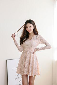 Wave Lace V Dress