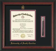 USC Upstate Diploma Frame - Rosewood - w/USCU tassel - black/garnet – Professional Framing Company