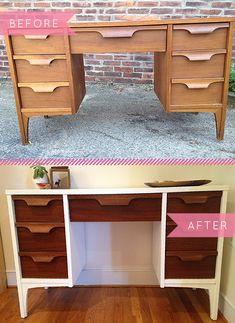 Before  After: A Midcentury Desk Gets A Fresh New Look | Design*Sponge