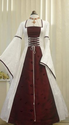 MEDIEVAL PAGAN WHITE AND WINE WEDDING DRESS, Dawns Medieval Dresses