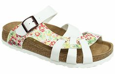 Pisa Soft Footbed Springflower White/White Birko-Flor The footbed of this unique style is layered with a dense foam to give you cushioned comfort all day. It is wonderful for sensitive feet. The curved strap and woven design hug your feet and the footbed supports your arches. Resoleable. #birkenstock #birkenstockexpress.com  $99