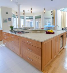 Kitchen Island   Large Kitchen Island, Island Seating, Granite Countertops,  Glass Cooktop,