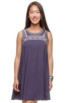 Bella Funk Boutique - Ya Los Angeles Sleeveless Dress with Embroidery Yoke, $48.00 (http://www.bellafunkboutique.com/ya-los-angeles-sleeveless-dress-with-embroidery-yoke/)