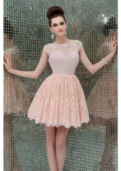 2014 Scoop Neckline Tulle And Lace Rhinestone Beaded Bodice Homecoming Dress - by OKDress UK