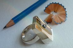 Pencil Sharpener Ring: Solid Sterling Silver, fully functional sharpener with replaceable German Küm blade.