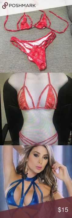Sexy exotic bikini top bottom set lingerie M Sexy Spandex Red floral print bikini top ( one size fir all) bikini bottom Medium , brand new never been worn Swim Bikinis
