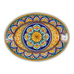 Deruta Geometrico Oval Platter Pattern B - handmade, hand painted Italian ceramics from Deruta, Italy - the detail on this is exquisite. I love the colors, and the geometric design reminds me of a mandala. So beautiful. Found at the Italian Pottery Outlet in Santa Barbara, CA