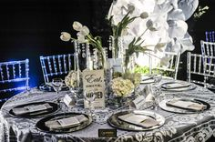 Center Piece - Black n White decor - Flor & Cia