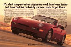 More brilliant ad work from Tom McElligot. Vintage Porsche, Vintage Cars, Best Adverts, Mercedes Benz, Volkswagen, Porsche 968, Auto Union, Car Advertising, Rear Wheel Drive