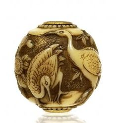 Japanese Ivory Ojime Netsuke Crane Bird Figurine