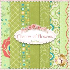 Chance of Flowers  7 FQ Set - Leaf by Sandy Gervais for Moda Fabrics: Chance of Flowers is a fun collection by Sandy Gervais for Moda Fabrics.  100% cotton.  This set contains 7 fat quarters, each measuring approximately 18