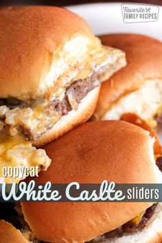 Copycat White Castle Sliders These White Castle Sliders are delicious! For those of you who have always wanted to duplicate these sliders at home, this recipe is the real deal. White Castle Sliders, White Castle Hamburgers, Copycat Recipes, Beef Recipes, Cooking Recipes, Hamburger Recipes, Sausage Recipes, Appetizer Sandwiches, Tasty
