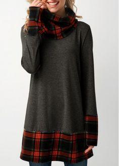 Stylish Tops For Girls, Trendy Tops For Women, Tartan, Plaid, Dress Plus Size, Cowl Neck, Knitwear, Dark Grey, Buy Cheap