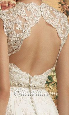 Pizzo A Sirena Vestito Sposa V-Collo Cintura Fiocco ACMS014 3
