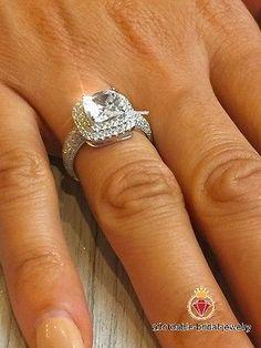 Carat Princess Halo Diamond Engagement Ring White Gold for sale online Baguette Diamond Wedding Band, Baguette Diamond Rings, Round Diamond Ring, Gold Diamond Rings, Diamond Jewelry, Lab Created Diamonds, Halo Diamond Engagement Ring, White Gold, Halo Rings