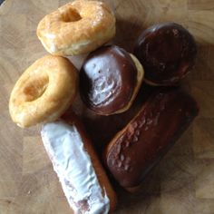 A selection of glazed yeast donuts, longjohns, and cream-filled donuts from Honey Dip Donuts & Diner, Columbus, OH
