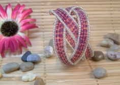 Braided Cuff Bracelet  pink and purple by ForgetMeNotMemories, $9.00