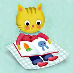 Kitten reading - Claire Louise Milne