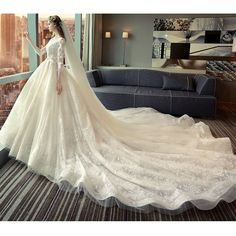 Buy MSSBridal Flower Applique 3/4-Sleeve Ball Wedding Dress | YesStyle