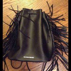 VS black backpack Black leatherette fringed drawstring backpack. Never used Victoria's Secret Bags Backpacks