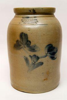 Antique Pottery | Antique American Stoneware Cobalt Decorated Salt Glaze New Orleans Two ...