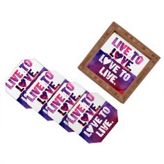 CMYKaren Live To Love Coaster Set | DENY Designs Home Accessories #pantone #coloroftheyear #radiantorchid