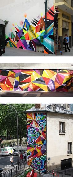 Vibrant street art by Matt W Moore aka MWM via theartcake.com This is the funking titties