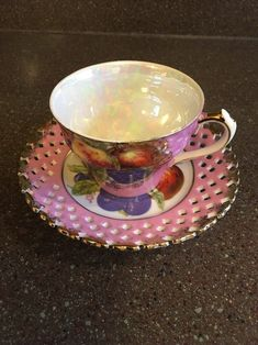 Vintage L M Royal Halsey Very Fine China Pink Teacup and Saucer with Fruit   - English China Tea Cup and Saucer