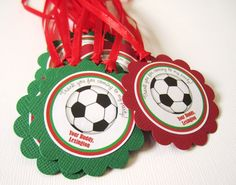 "Score a goal with this set of 12 Soccer Ball themed birthday party favor tags. You will receive 12 Personalized Soccer Ball tags that says ""Thank you for coming to my party!"" on the top and your own text underneath the #soccer ball. #partysupplies @adorebynat"