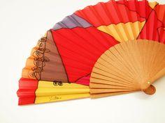 Handpainted Silk Hand fan Red-Yellow-Tan-Orange-Purple
