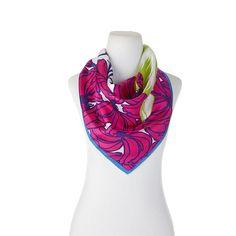 Echo Design Echo Plantains Silk Square Bandana - Hibiscus/Pink