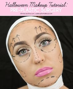 This pre-op prima donna look is plastic fantastic and super easy! You can create this chic Halloween makeup with just a few simple items you already have. #divinecaroline #halloween #makeup