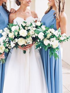 organic loose white bouquet and robins egg blue bridesmaid dresses