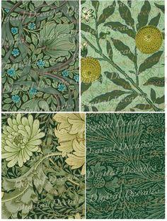 Art Nouveau Floral Greens Wallpaper Backgrounds Set of 4 - Digital Image Vintage Art Illustration