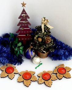 Christmas decorations foliage candlestick  Set от ClockArtVintage