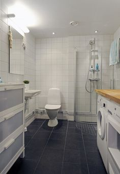 placing all your stuff in a bathroom is a common solution and this example  show how