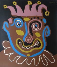 Pablo Picasso, The Old King, 1963, Gilden's Art Gallery Original Hand Signed and Numbered Linoleum Cut in Colours on Arches vellum paper