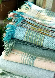 Turquoise, Aqua Blue Cottage More; for the living room Shades Of Turquoise, Aqua Blue, Shades Of Blue, Blue And White, Textiles, Welsh Blanket, Wool Blanket, Turquoise Cottage, Beach Cottage Style