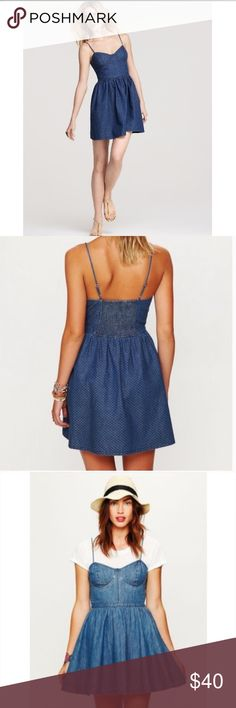 Free people denim bustier dress Denim bustier dress with white polka dots and a cinched waste. Upper back has stretchy, smocked insert for easy fit and wear. Little pleats below waste all around so that the bottom of the dress has a full, flouncy bottom. Zips up left of dress. Straps are adjustable. Free People Dresses Mini