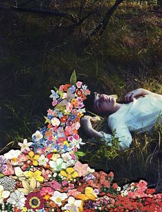 """""""I know a 'face' where the wild thyme blows, Where oxlips and the nodding violet grows, Quite over-canopied with luscious woodbine, With sweet musk-roses and with eglantine."""" William Shakespeare, A Midsummer Night's Dream Collage Artists, Collages, Surreal Collage, Surreal Art, Photomontage, Flower Collage, Artsy Fartsy, Flower Power, Mixed Media Art"""