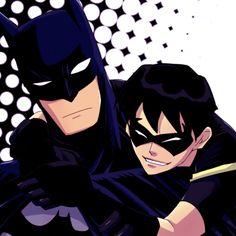 Aww! Robin's hugging on Batman! But it seems like Batman's royally confused