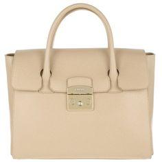 Furla Handle Bag - Metropolis Tote Bag Medium Acero - in beige -... (€320) ❤ liked on Polyvore featuring bags, handbags, tote bags, purses, accessories, beige, top handle handbags, man bag, furla tote and beige tote