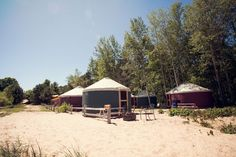 Lake Superior camping at Uncle Ducky's Paddlers Village in Christmas Michigan. Sleep in yurts, platform tents, & cabins right on the shore of Lake Superior Yurt Camping, Glamping, Tent Platform, Picture Rocks, Yurts, Upper Peninsula, Lake Superior, Vacation Packages, Great Memories