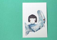 Postkarte Mädchen und Wal / illustrated postcard, girl with wahle, art by gretasschwester via DaWanda.com